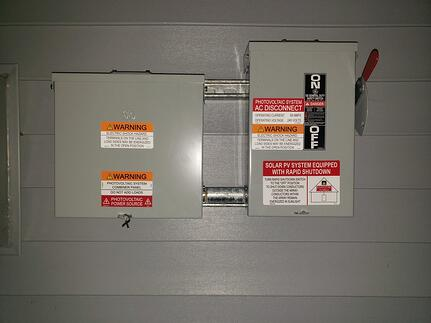 AC Combiner and Rapid Disconnect with NEC labels