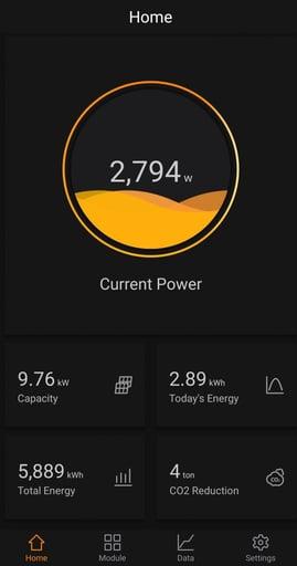 Home solar panel phone app tracking