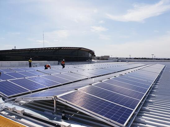 Re-deployable commercial solar system on business rooftop