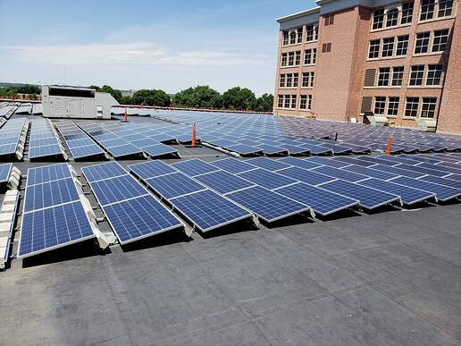 Ballasted mount on flat roof for solar power