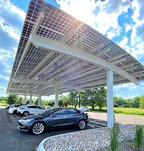 Close up look at parking lot solar canopy